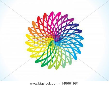 abstract artistic rainbow floral circle vector illustration