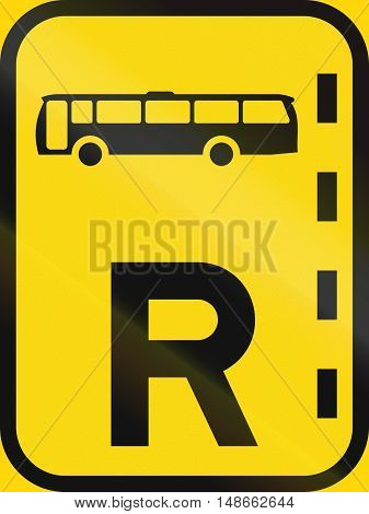 Temporary road sign used in the African country of Botswana - Reserved lane for buses. poster