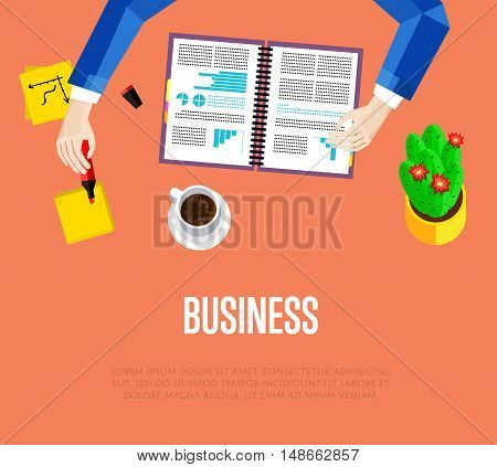 Business template. Top view office workspace, vector illustration. Overhead view of businessman working with financial documents on red background. Office workplace banner with space for text