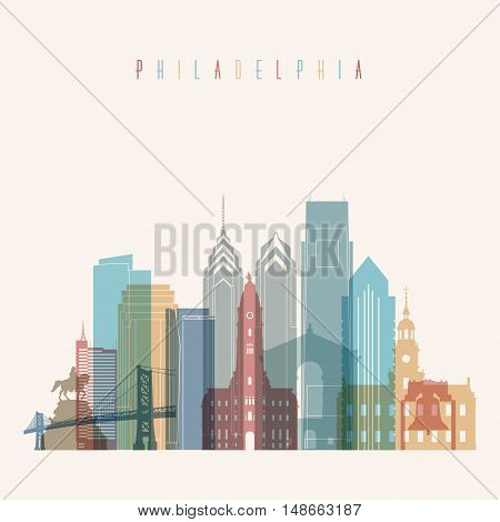 Transparent styled Philadelphia state Pennsylvania skyline detailed silhouette. Trendy vector illustration.