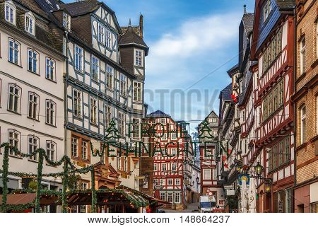 street in Marburg with half-timbered houses Germany