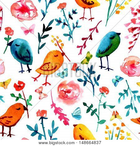 A seamless background pattern with quirky watercolor birds butterflies and abstract florals hand painted on white background