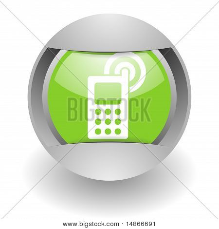 cell phone steel green glosssy icon
