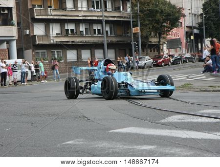 BELGRADE,SERBIA - SEPTEMBER 10, 2016:Oldtimer formula at the commercial race of old cars in memory of formula 1 race held on the same place in 1939 two days after the beginning of Second World Warwhen the famous Italian driver Tazio Nuvolari won