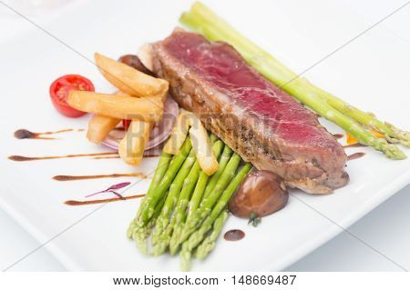Beef Steak on the plate  in restuarant