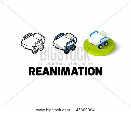 Reanimation icon, vector symbol in flat, outline and isometric style