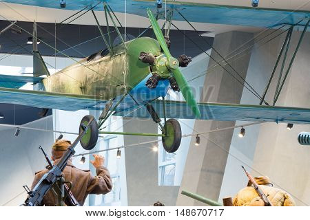 Minsk, Belarus - December 20, 2015: World War II Soviet Russian light night bomber PO-2 in Belarusian Museum Of The Great Patriotic War