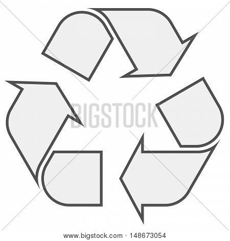 gray economic recycle sign on white background