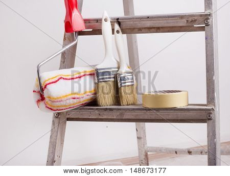 Ladder With Painting Equipment