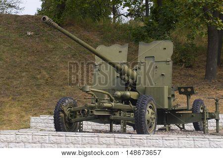 Korosten Ukraine - September 11 2016: Soviet 1962 antiaircraft gun AGZ C displayed outdoor