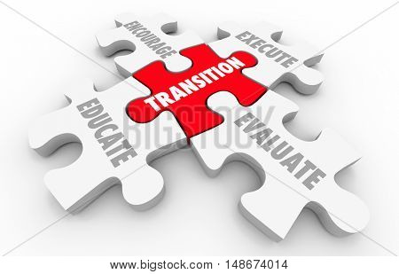 Transition Leading Change Execute Evaluate Puzzle Pieces 3d Illustration