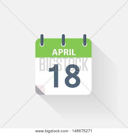 18 april calendar icon on grey background