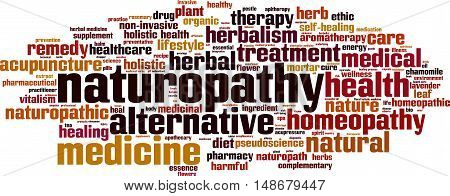 Naturopathy word cloud concept. Vector illustration on white poster