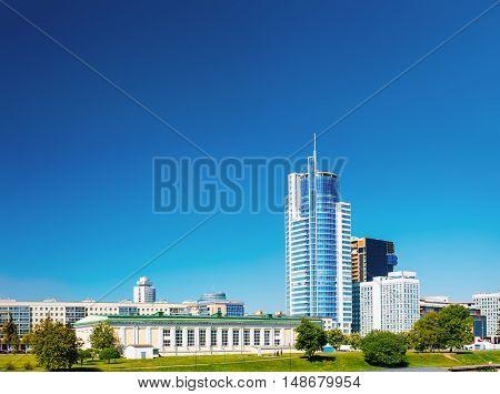 Business Center Skyscraper On Pobediteley Avenue In District Nemiga Or Nyamiha In Minsk, Belarus