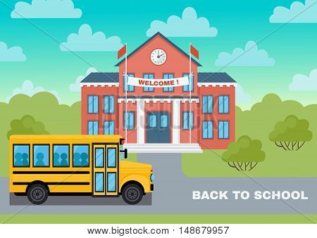 School building and yellow bus vector illustration. Welcome to school