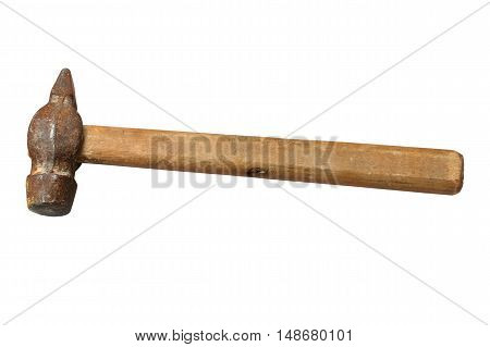 Old rusty hammer with a wooden handle.Isilation