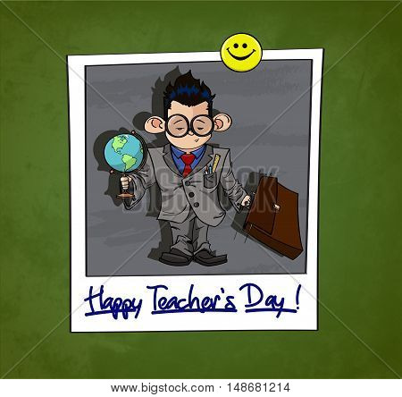 Illustration of Little boy in big glasses dressed like a Teacher with a globe and other school's accessories. Instant photo attached to chalkboard with magnetic smiley button. Happy Teacher's Day title