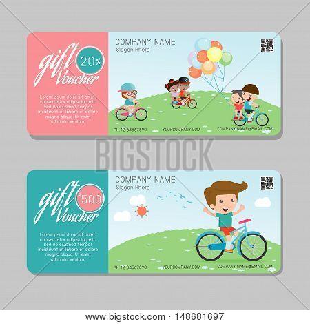 Gift voucher template and modern pattern. child concept. Voucher template with premium pattern, gift Voucher template with colorful pattern. bright concept. voucher kids Vector illustration