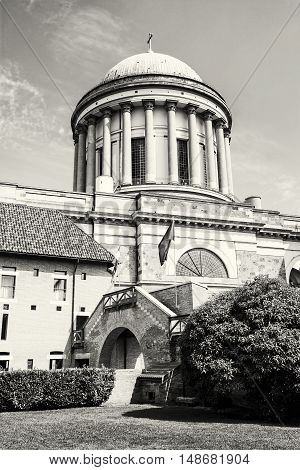 Beautiful basilica in Esztergom Hungary. Cultural heritage. Travel destination. Largest building. Place of worship. Black and white photo. Religious architecture.