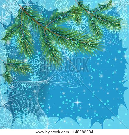 Background for Christmas Holiday Design, Green Fir Coniferous Branches and Blue Outline Snowflakes. Eps10, Contains Transparencies. Vector