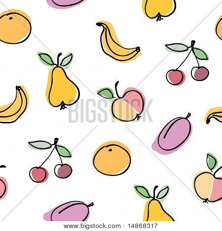 Hand-drawn fruits collection. Seamless vector background pattern.