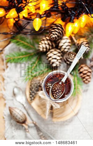 Traditional Siberian Dessert Confiture From Young Pine Cones