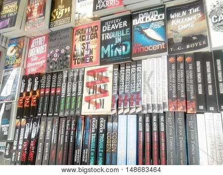 SEREMBAN, MALAYSIA -AUGUST 27, 2016: Books and novels set on the table for sale