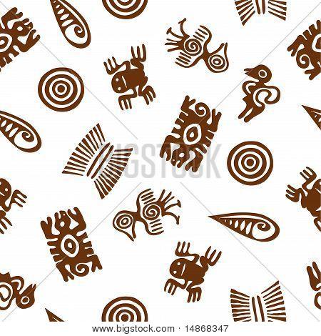 Stylized Aztec cute animal figures. Seamless pattern. poster