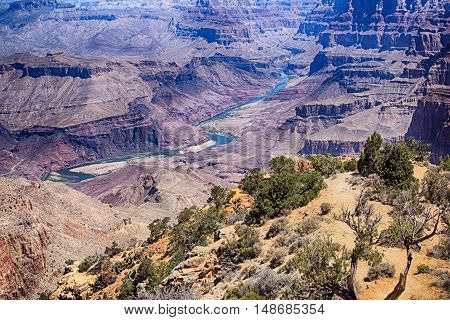 View of Colorado River and buttes in Grand Canyon