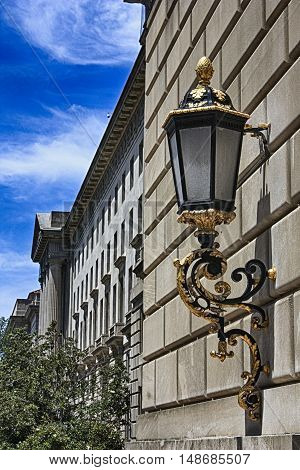 Ornate lantern on a Washington National Mall building