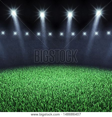 Sports arena spotlights and grass , Stadium , 3d illustration