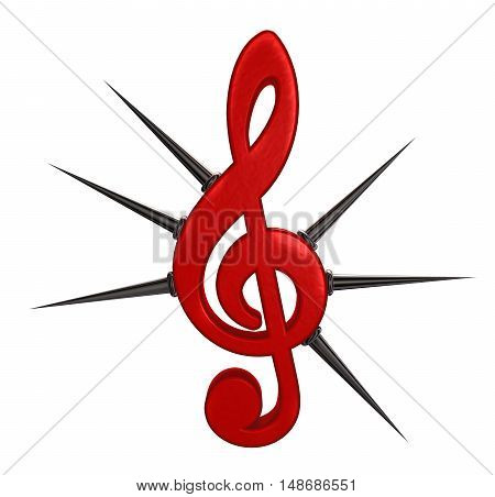 clef with prickles on white backgrounds - 3d rendering