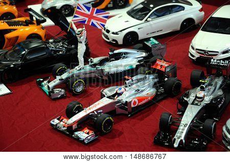 SERDANG, MALAYSIA -JULY 30, 2016: Miniature model of F1 machine and its driver.