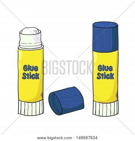 Cartoon glue stick isolated on white. Vector illustration.