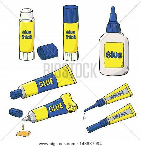 Cartoon Glue set. Vector collection of glue tubes, bottle and stick isolated on white