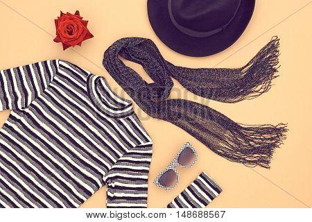 Autumn Fashion woman Clothes Accessories Set. Design fashion. Trendy Scarf Dress, Stylish Hat Glamor fashion Outfit, Rose. Black White. Top view. Fall Fashion.Vintage. Elegant Creative Minimal Concept