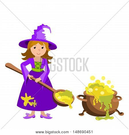 Vector cartoon image of funny witch with big cauldron potion on a white background. Halloween. Vector illustration.