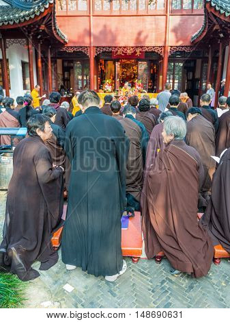 Suzhou China - October 232016: Buddhist Monks at Bao'en Temple complex (Beisi Temple or North Temple Pagoda) in Suzhou China. Buddhism in China belongs to the Mahayana school and is the main religion in China.