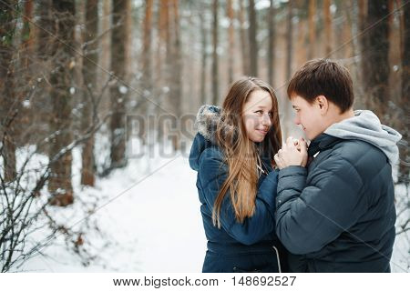 Couple In Love Having Fun In Winter Holidays