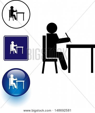writing in desk symbol sign and button