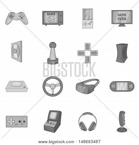 Video game icons set in black monochrome style. Game controllers set collection vector illustration