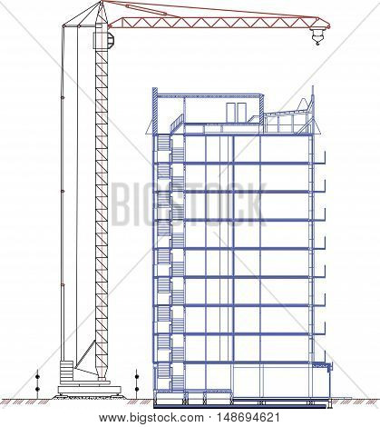 crane drawing, tower crane, construction crane drawing of a sectional elevation on the construction drawings