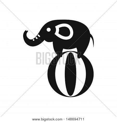 Elephant balancing on a ball icon in simple style on a white background vector illustration