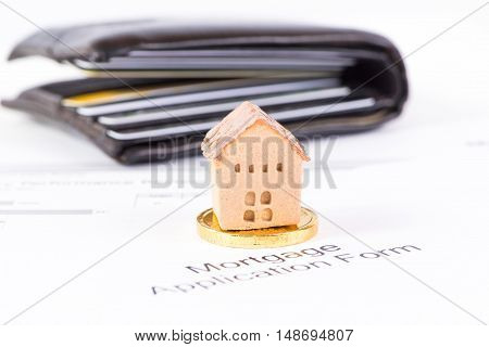 House and coin invesment and realestate concept