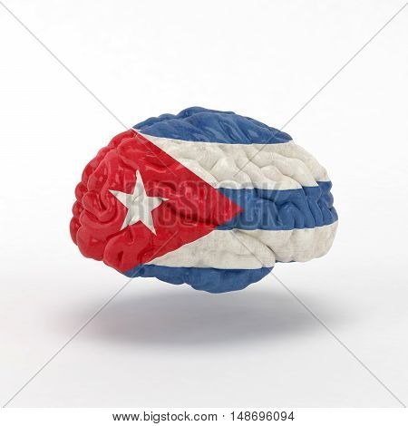 Cuba Flag on Human brain. 3D illustration.