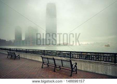 New Jersey and New York City in a foggy day viewed from park