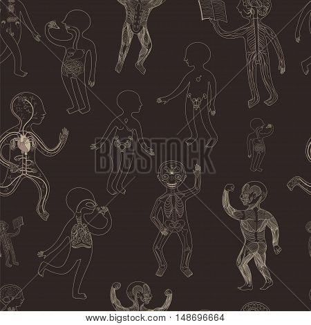 Vector seamless pattern with illustration of human anatomy systems of organs for kids school education. Contour version on dark brown background.