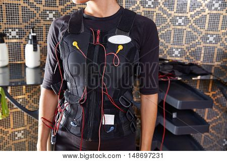 EMS electro stimulation suit woman with cables