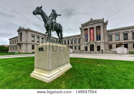 Boston Massachusetts - September 5 2016: Boston Museum of Fine Art facade with the Appeal to the Great Spirit monument. The Museum of Fine Arts is the fourth largest museum in the United States.