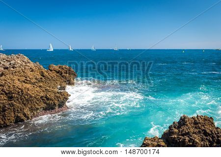 View of the beach near Antibes France